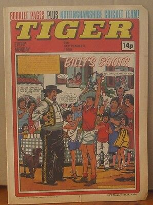 TIGER comic 6th September 1980 Johnny Cougar Hotshot Hamish Billy's Boots