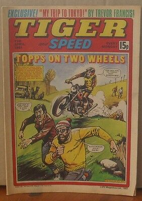 TIGER and SPEED comic 11th April 1981 Johnny Cougar Hotshot Hamish Billy's Boots