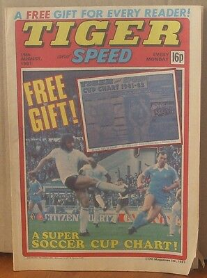 TIGER and SPEED comic 15th Aug 1981 Johnny Cougar Hotshot Hamish Billy's Boots