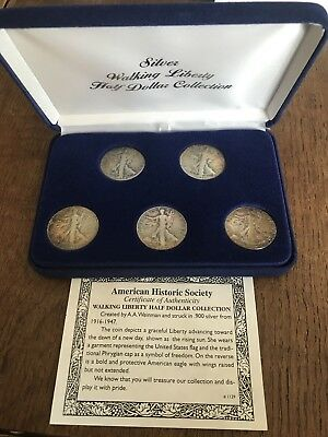 United States Silver Walking Liberty Half Dollar Collection Set With COA