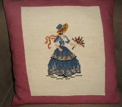 Vintage Needlepoint Pillow Hand Done Lovely Lady
