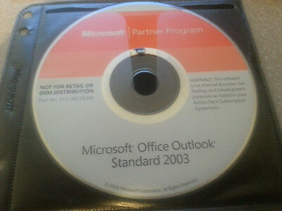 Vintage Microsoft Office Outlook 2003 CD W/Product Key