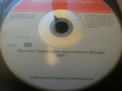 Microsoft Systems Center Data Protection Manager 2007 DVD W/Product Key