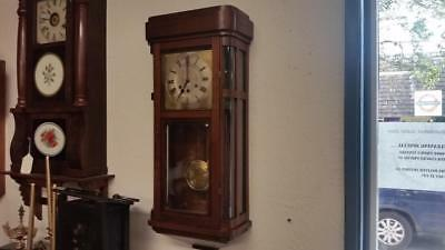 Gustav Becker Westminster Mahogany Wall Clock with Ten Panels and Curved Glass