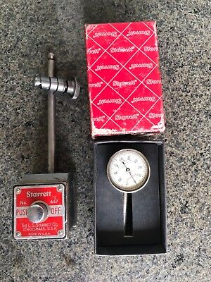 Starrett Magnetic Base with Starrett Indicator & connector- X used condition