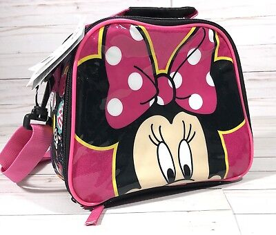 Disney Minnie Mouse Lunch Box Bag Tote School Pink Girl NWT