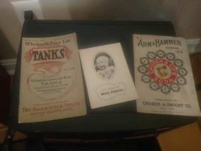 Vintage Advertising -1919 Arm & Hammer Almanac,'10 Tanks Catalog,'38 Mail Pouch