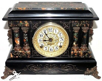"Antique Seth Thomas ""baystate"" 1904 Adamantine Clock W/ Egyptian Side Figures."