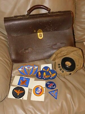 USAAF US AAF Navigational Briefcase MB-1 Flying Helmet AN-H-15  Patches WWII WW2
