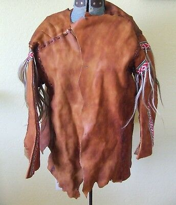 Hand Made Tooled Native American Regalia Soft Hide Horse Hair & Bell Jacket