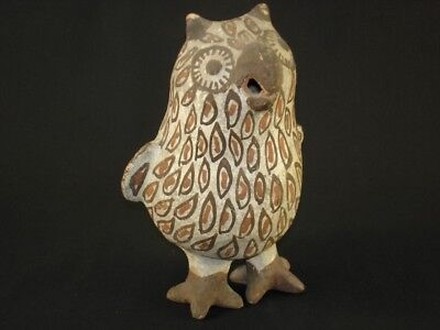 An early Zuni pottery standing Owl, Native American Indian, Circa: 1905