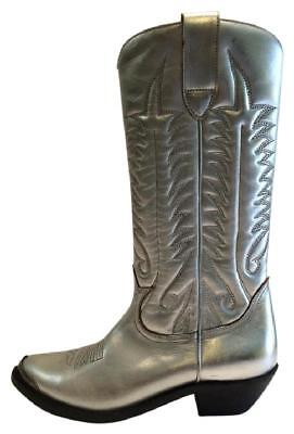 New! Retail $1,000 Golden Goose Deluxe Brand Silver Leather Tall Boots