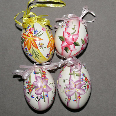 """Christmas Ornament EASTER Egg Chicken #2 Hand Painted Floral NIB 3"""" Lot of 4"""