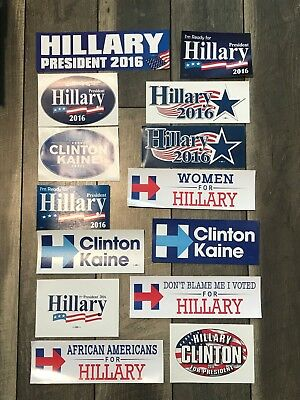 Lot Collection of 14 Hillary Clinton Tim Kaine For President Bumper Stickers