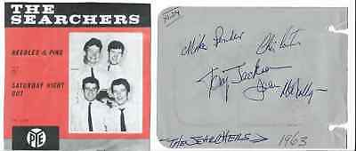 The Searchers - Vintage In Person Hand Signed Album Page By All 4 With Picture.