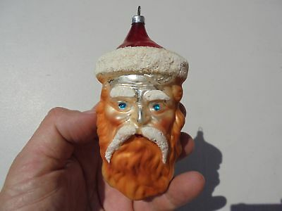 Old Antique Blown Glass Christmas Ornament Large Santa Head Mica Type Glitter