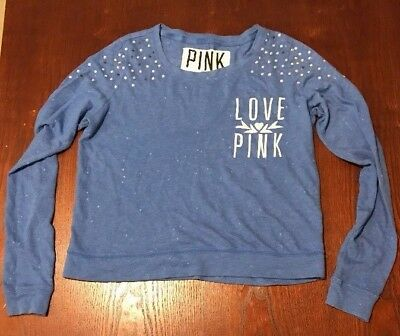 Victoria's Secret Pink Womens Sweater Top Shirt Small Blue White