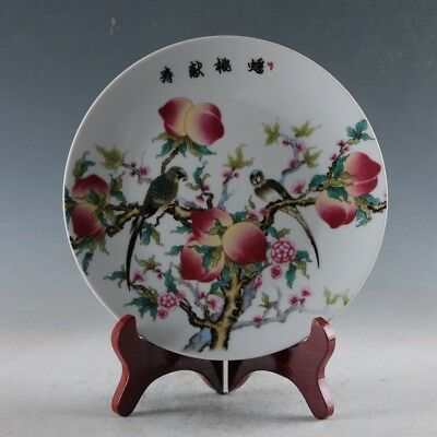 Chinese Porcelain Handmade Peach&Birds Plate Made By The Royal of Yongzheng