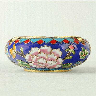 Chinese Cloisonne Handmade Flowers Ashtray JTL1069+a