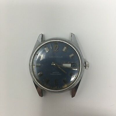 VINTAGE BLUE DIAL DAY DATE CARAVELLE AUTOMATIC 17 JEWEL WATCH Swiss Made