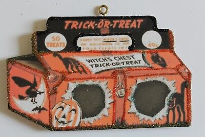 Witch's Chest Candy Box * Halloween Ornament * Vtg Card Image * Glitter