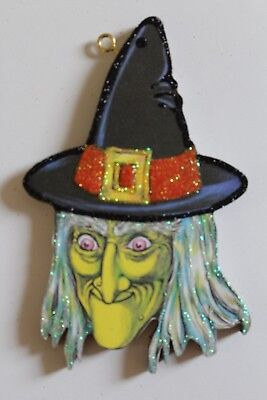 Green Faced Witch * Halloween Ornament * Vtg Card Image * Glitter