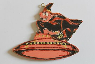 Witch and Flying Saucer * Halloween Ornament * Vtg Card Image * Glitter