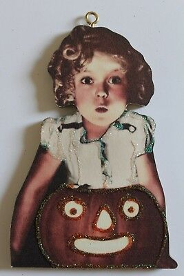 Shirley Temple & JOL * Halloween Ornament * Vtg Card Image * Glitter