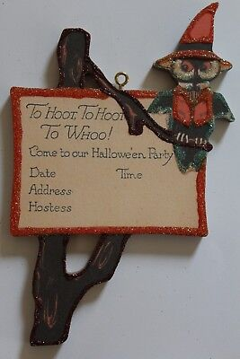 Party Invitation w Owl in Tree * Halloween Ornament * Vtg Card Image * Glitter