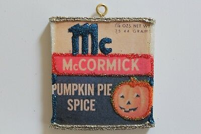 Pumpkin Pie Spice Tin Mini * Halloween Ornament * Vtg Card Image * Glitter