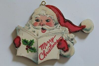 Santa Reading List * Christmas Ornament * Vtg Card Image * Glittered