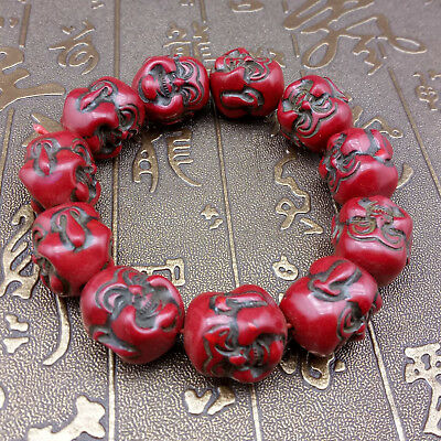 100% Natural Hand-Carved Red Coral Maitreya Bracelet   a596