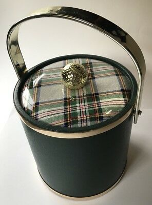 Vintage Prep Green Ice Bucket with Plaid Lid and Golf ball on cover Man cave!