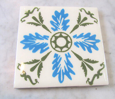 "Vintage ORION Monterrey Mexico Blue & Green Abstract Art Tile 4.25"" x 4.25"""