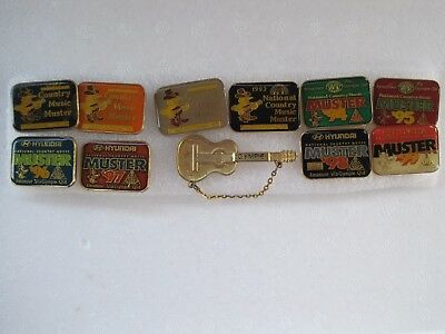 Great Collection Of 11 Gympie Country Music Muster Enamel Badges