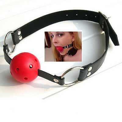Strap On Head Mouth Ball Gag  Restraints Sexy Leather Toy Set RR