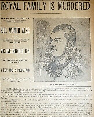 Rare 1903 Dallas Newspaper Front Pages - Serbian Royal Family Assassinated