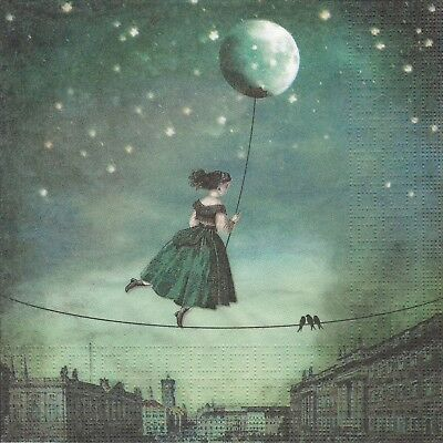 4x Paper Napkins for Decoupage Craft and Party Catrin Welz-Stein: Moon Lady