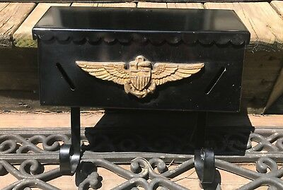 VINTAGE METAL WALL MOUNT MAILBOX W/ Patriotic Wings, Anchor And Shield