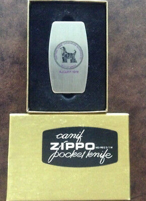 1978-ZIPPO POCKET KNIFE-Afghan Dog Motif-Best of Breed Award-Exc. Cond.