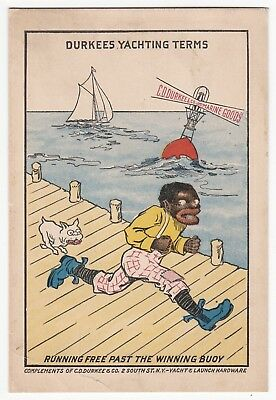 BLACK AMERICANA - 1910s ADVERTISING POSTCARD - DURKEE & Co YACHTING HARDWARE, NY