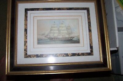 19th Century Color Print AMERICAN MASTED FRIGATE Constitution?