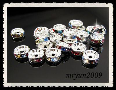 Beads 6mm Rhinestones Rondelle Mixed Spacer TOP FREE 50PCS Silver Crystal AAA