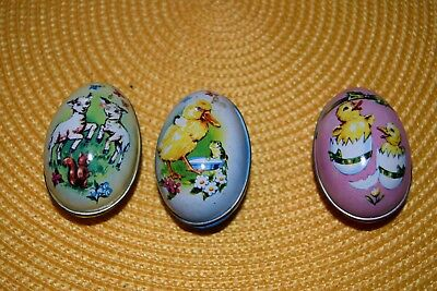 3-Vintage Boyer Egg Tins Lambs, Duckling & Chicks