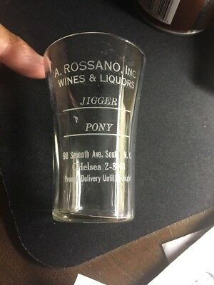 Vintage Advertising Shot / Measuring Glass Rosssano Liquor Store NYC