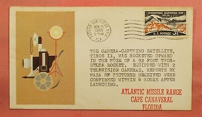 1960 Space Tiros Ii Satellite Launch Patrick Afb Fl Florida Label Cachet