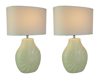 Off-White Ceramic Table Lamp With Fabric Shade Set of 2