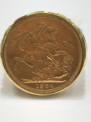 9ct And 22ct Gold Full Sovereign Coin Ring | 1884 | Brand New Instore