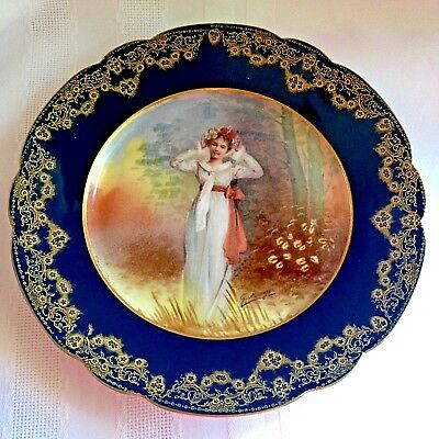 "SEVRES FRANCE Hand Painted & Gilt Porcelain PORTRAIT PLATE 8.5""d ~ Artist Signed"