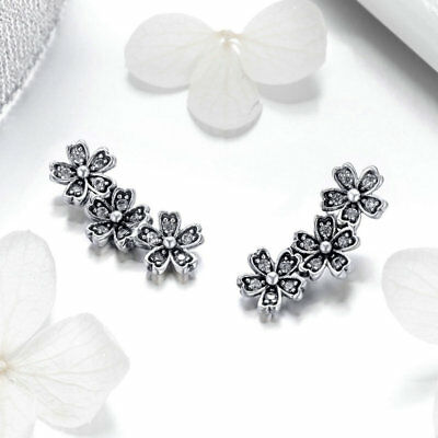 Fashion Beautiful 925 Sterling Daisy Flower Dazzling CZ Stud Earrings For Women